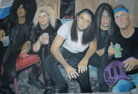 Duff McKagan, Slash, Sebastian Bach, Lars Ulrich por ricopainting